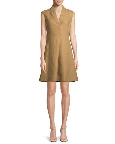 1ec7c789f6c Loro Piana Hollie Cap-Sleeve Linen Dress In Sand