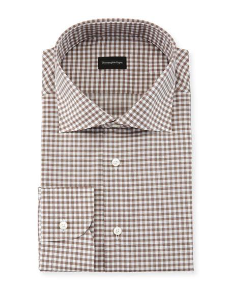 Ermenegildo Zegna Gingham Cotton Dress Shirt In Brown