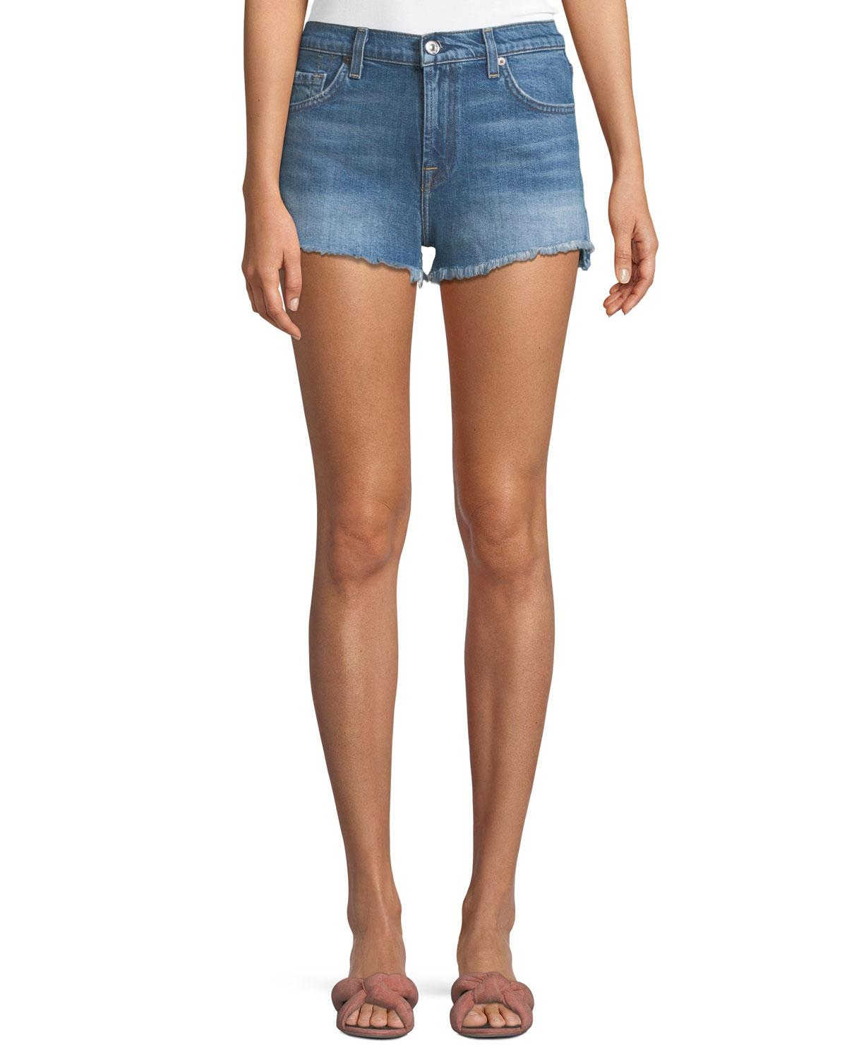 7 For All Mankind Cut-Off Step Hem Denim Shorts In Bright Blue