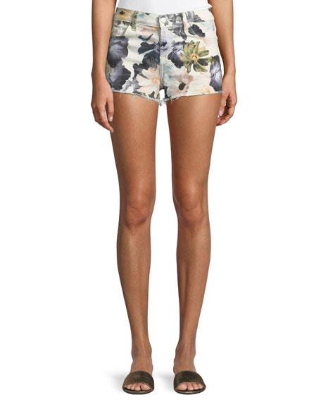 7 For All Mankind Floral-print Cutoff Denim Shorts In Multi