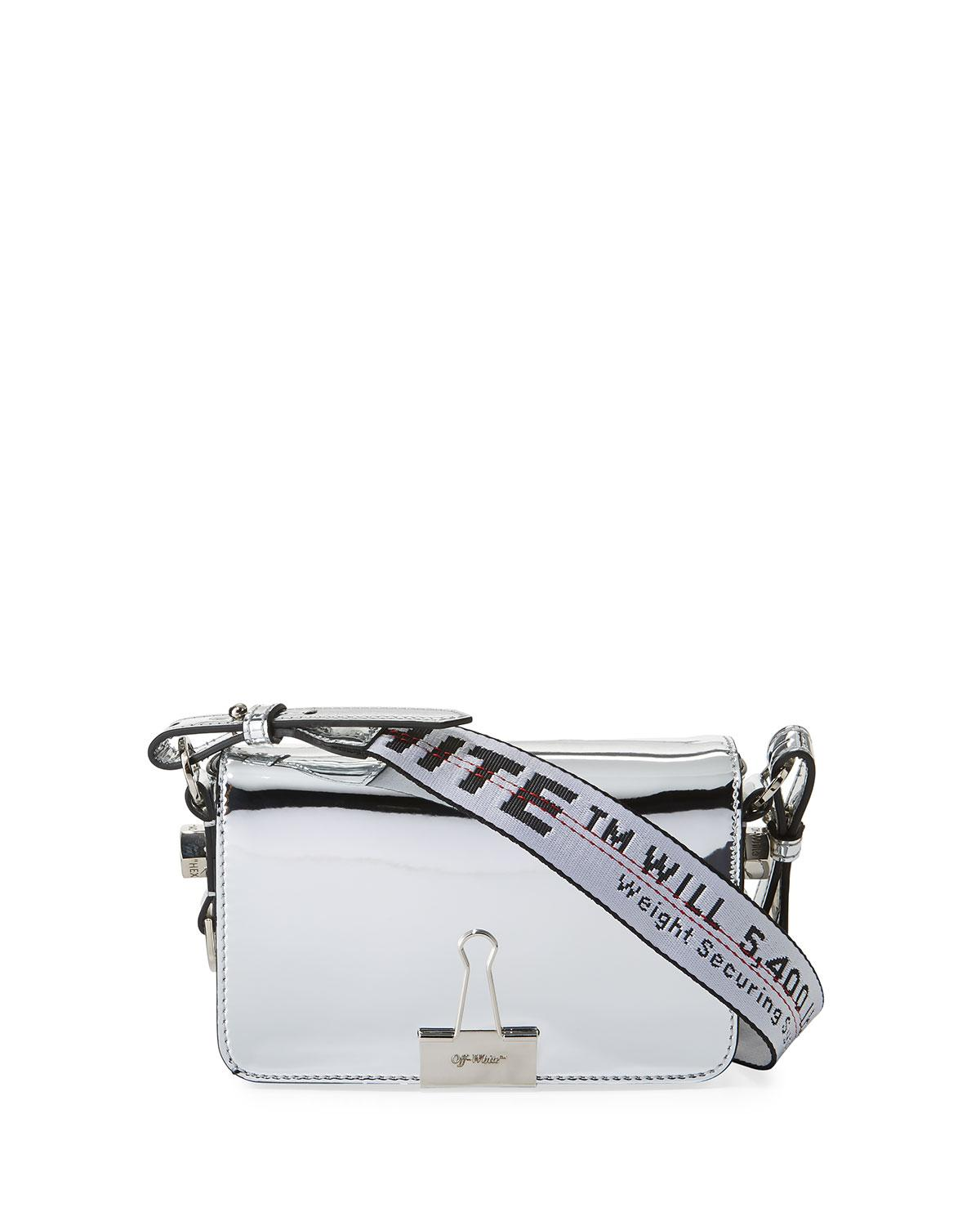 03d0816533c0f Off-White Mirror Mini Flap Crossbody Bag In Silver