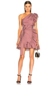 Alexis Adela One-Shoulder Ruffle Mini Dress In Pink
