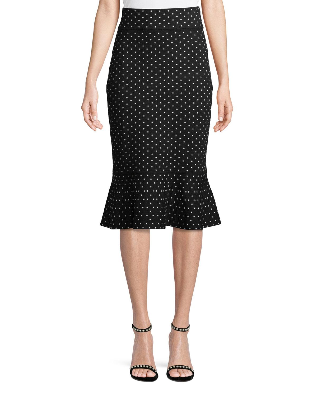 8bd7d608b6 Club Monaco Graciekins Reversible Polka-Dot Midi Skirt In Black ...