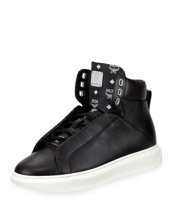 eacef4097e1 Men's Visetos-Trim Leather High-Top Sneakers in Black