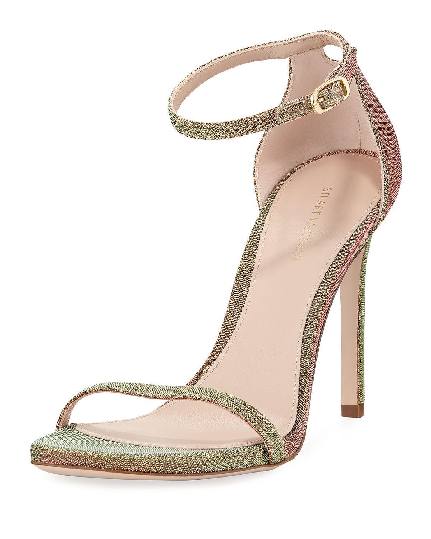 f840bd4ebd0c Stuart Weitzman sandal in glittered fabric. 4.1