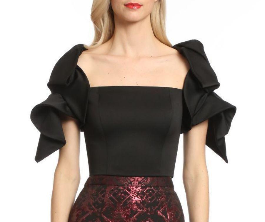 Badgley Mischka Origami Top And Jacquard Skirt In Black/Bordeaux