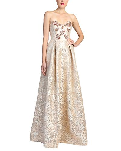 Badgley Mischka Rose Gold Strapless Evening Gown In Rose/Gold Multi