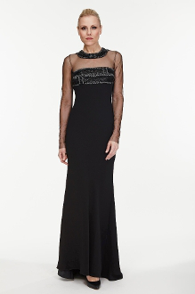Carmen Marc Valvo Long Sleeve Illusion Gown In Black