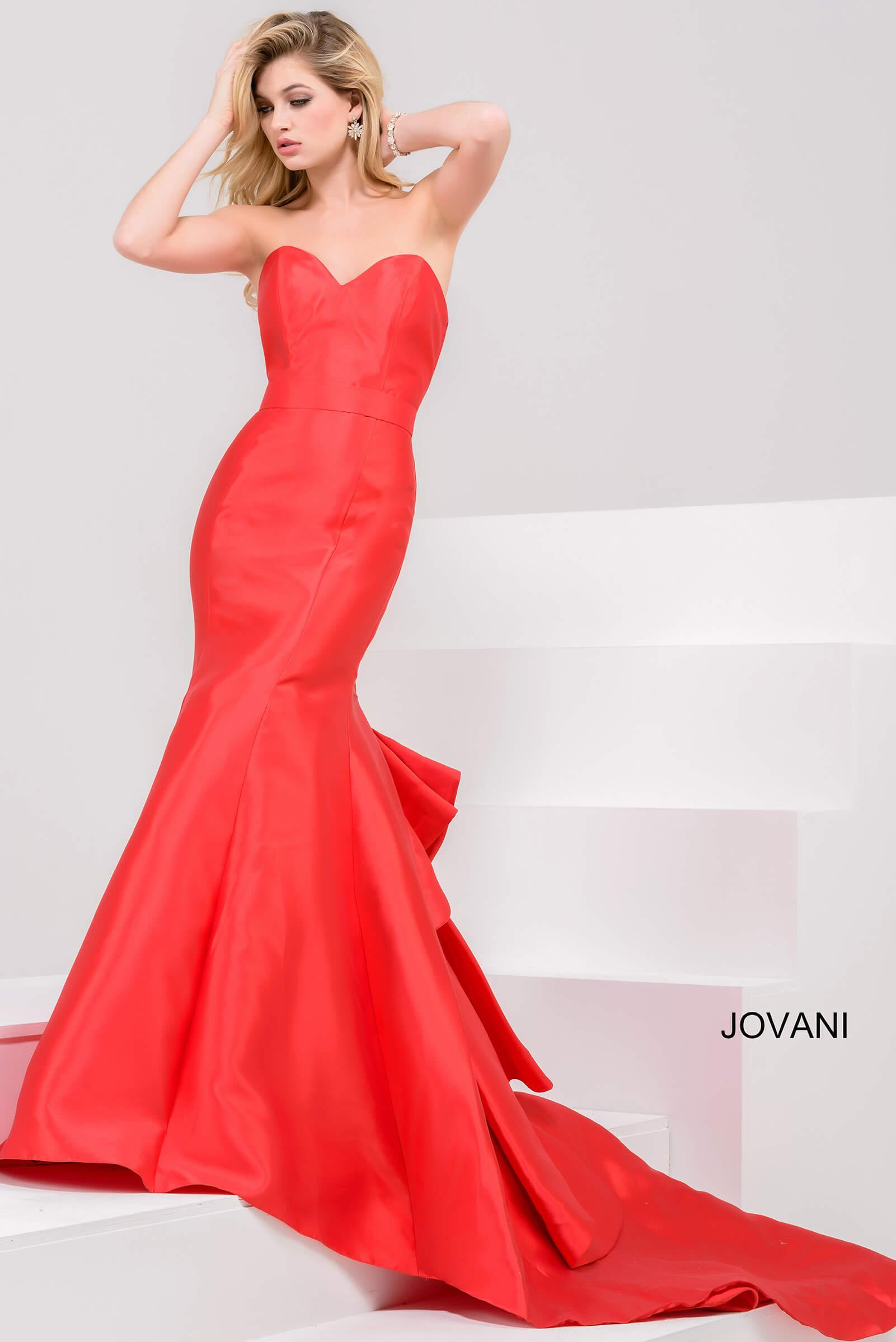 6f50fea7c6d7 Jovani Red Strapless Sweetheart Neck Mermaid Gown | ModeSens