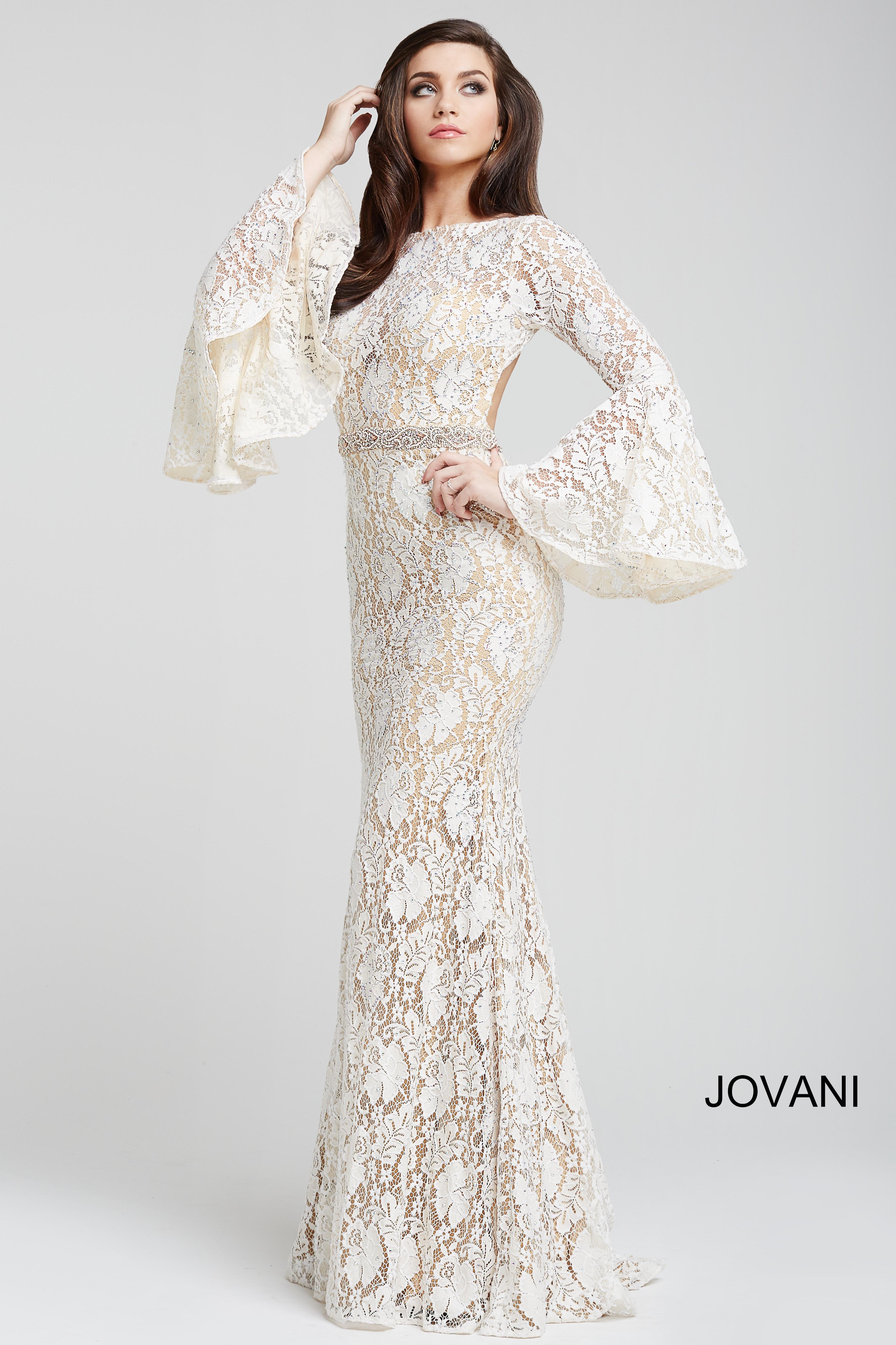 cc2c5bd18d5 Jovani Long Bell Sleeve Lace Gown In Off White Nude
