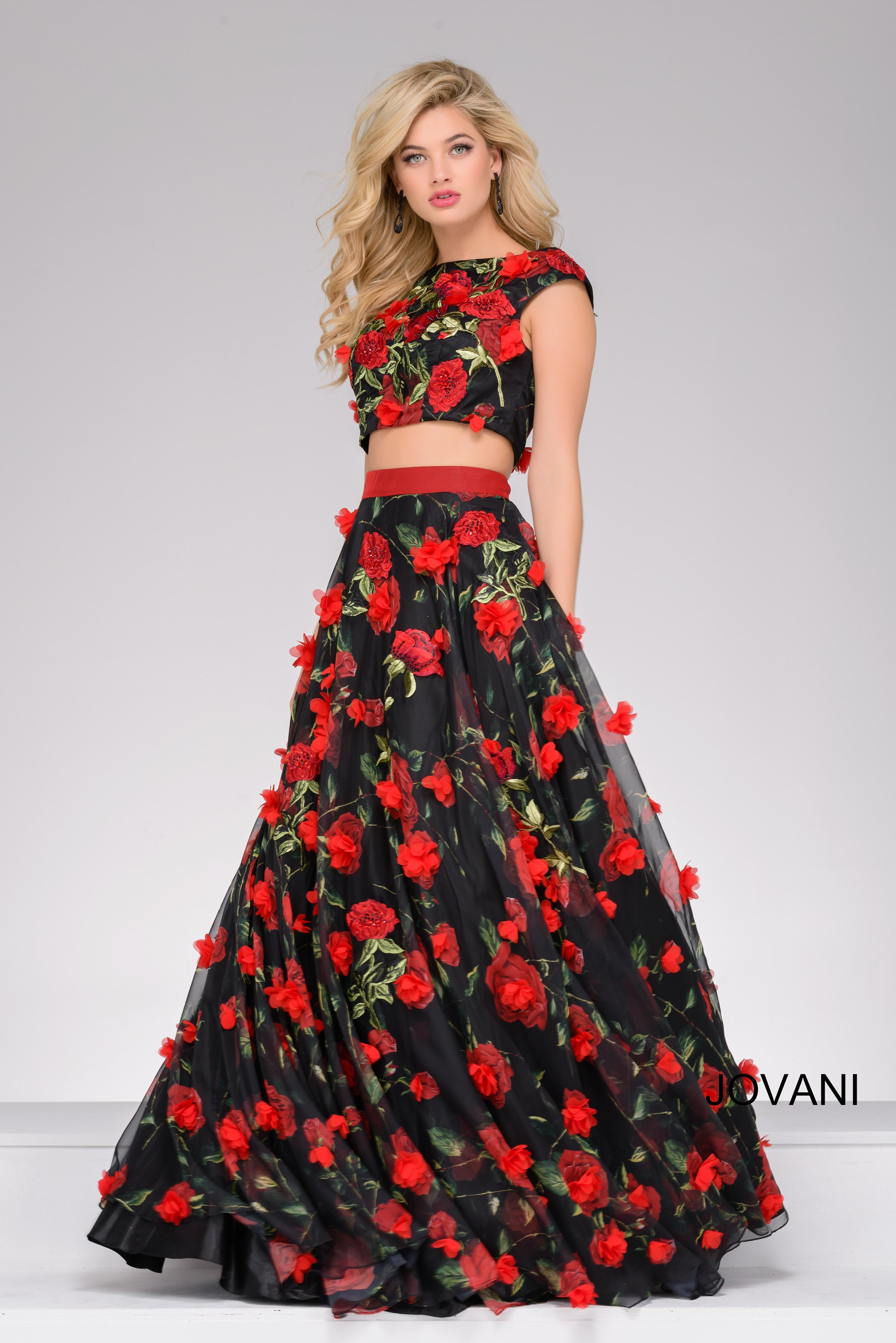 b624f6e8c81 Jovani Two-Piece Floral Applique Ball Gown In Red Black