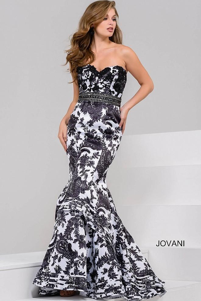 61c3c4cd6d65 Jovani Ivory Black Sweetheart Neck Mermaid Dress In Ivory/Black ...
