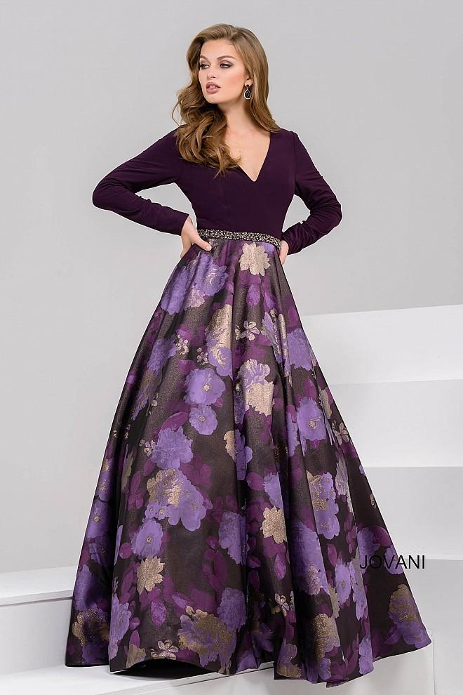 Long Sleeve V Neck Ball Gown In Eggplant