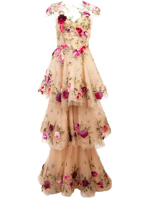 4010dca175c Fall 2018 Marchesa Couture Nude Illusion Tulle Floral Embroidered Gown in  Neutrals