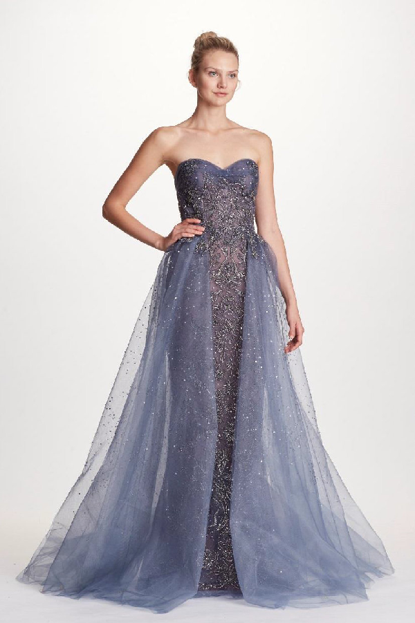1491c9f6cd Marchesa Couture Beaded Strapless With Tulle Overskirt Ball Gown In Smokey  Blue