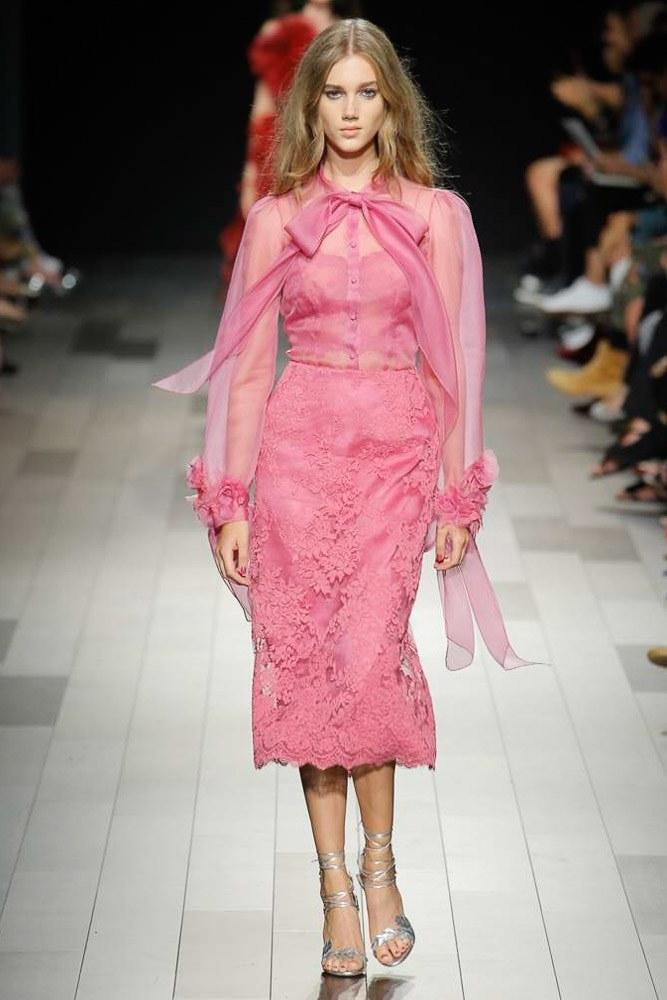 f51c34b926ae1 Marchesa Couture Pink 2-Piece Silk Organza Blouse And Lace Tea Skirt In  Azalea
