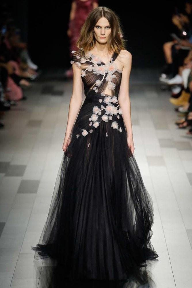 536726c395d Marchesa Couture Black One Shoulder Tulle Grecian Gown In Black/Blush