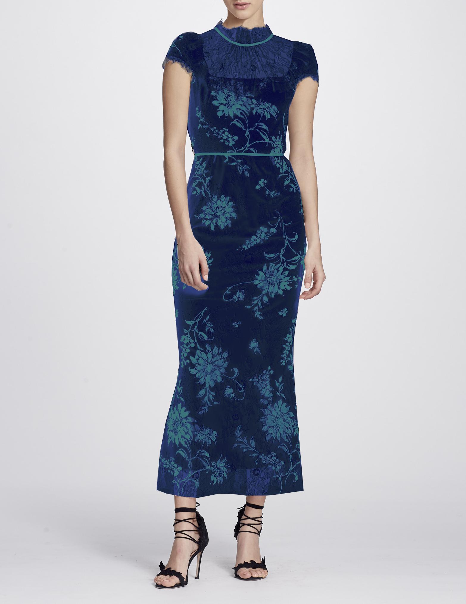 Marchesa Notte Cap Sleeve Floral Midi Tea Dress In Navy Blue