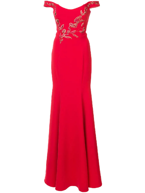 e878a72917 Marchesa Notte Red Off Shoulder Stretch Crepe Evening Gown | ModeSens