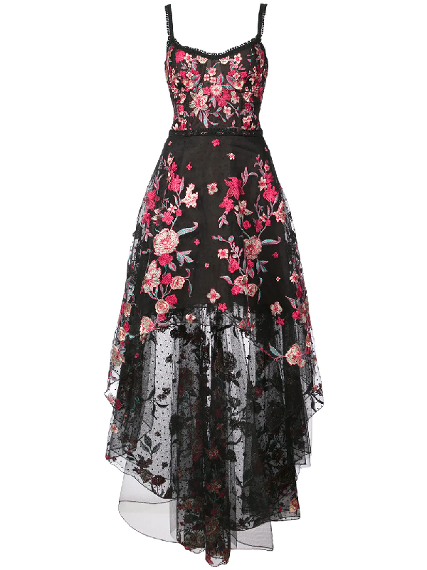 8c9ef837 Marchesa Notte Embroidered High-Low Sleeveless A-Line Dress In Black ...