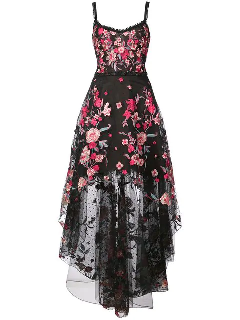 Marchesa Notte Embroidered High-Low Sleeveless A-Line Dress In Black