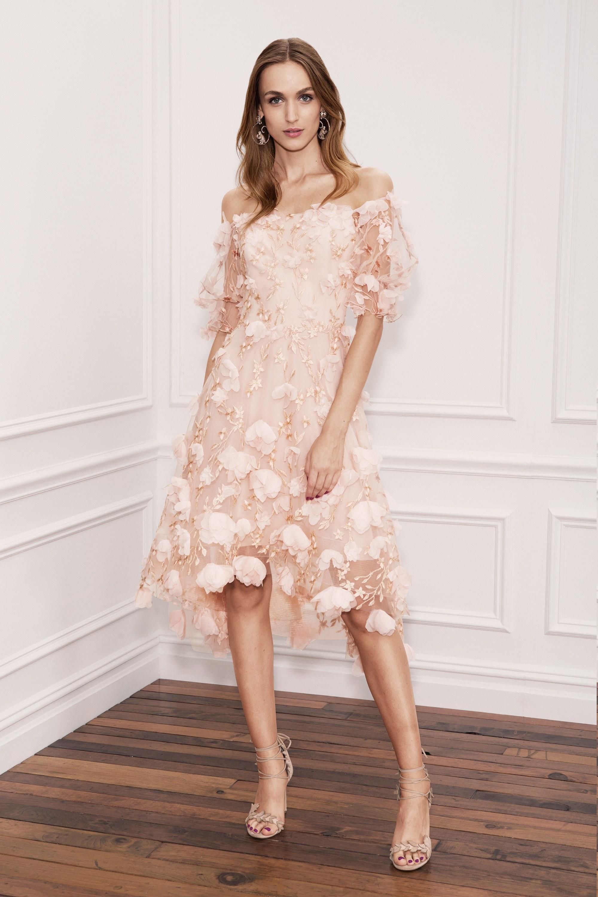 248394e06bb Marchesa Notte Pink Off Shoulder High Low Cocktail Dress In Blush ...