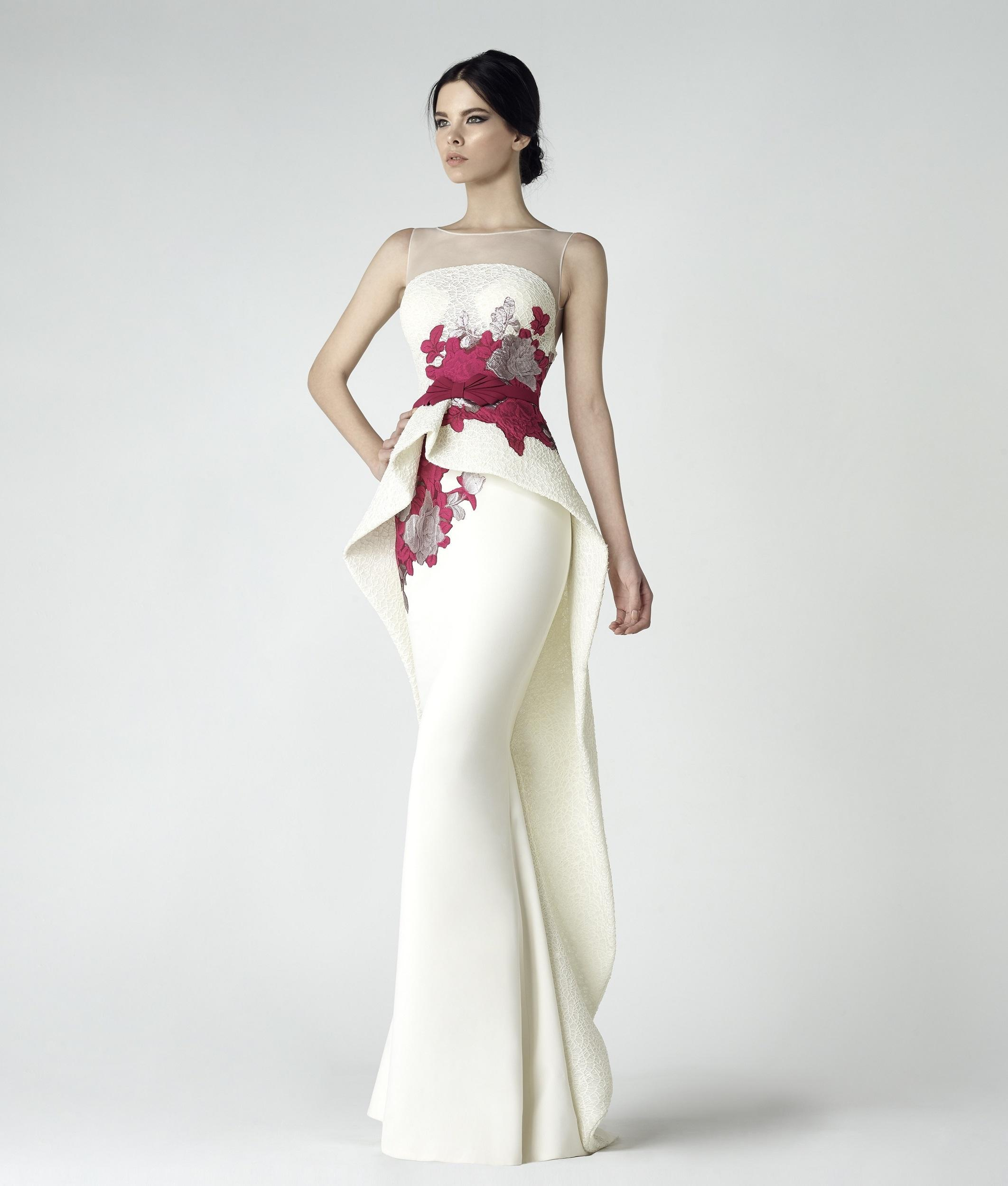 c864fd31e9cd Saiid Kobeisy Sk By Sleeveless Illusion Evening Gown In Off White ...