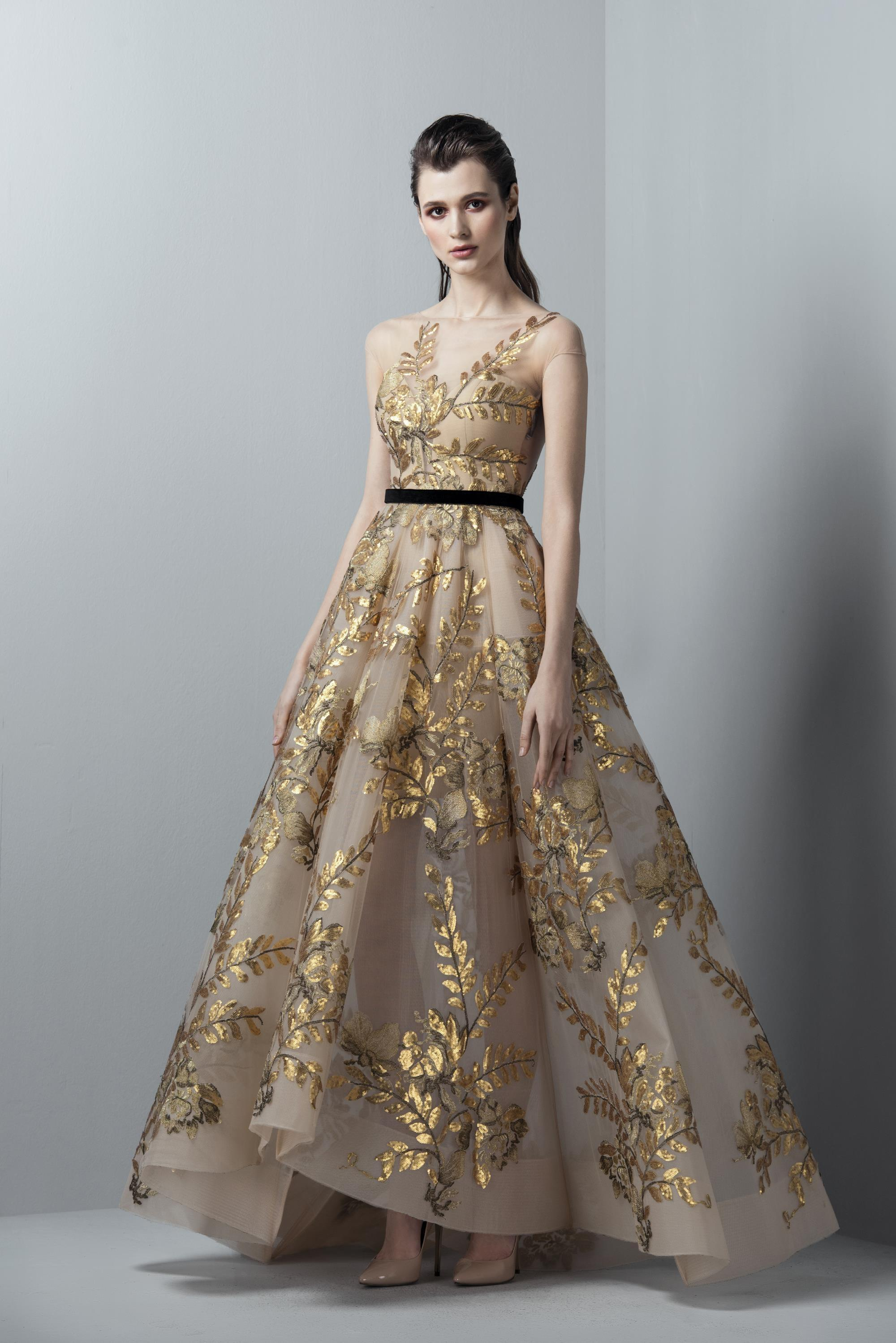 1a546e797ab8 Saiid Kobeisy Sk By Gold Illusion Evening Gown | ModeSens