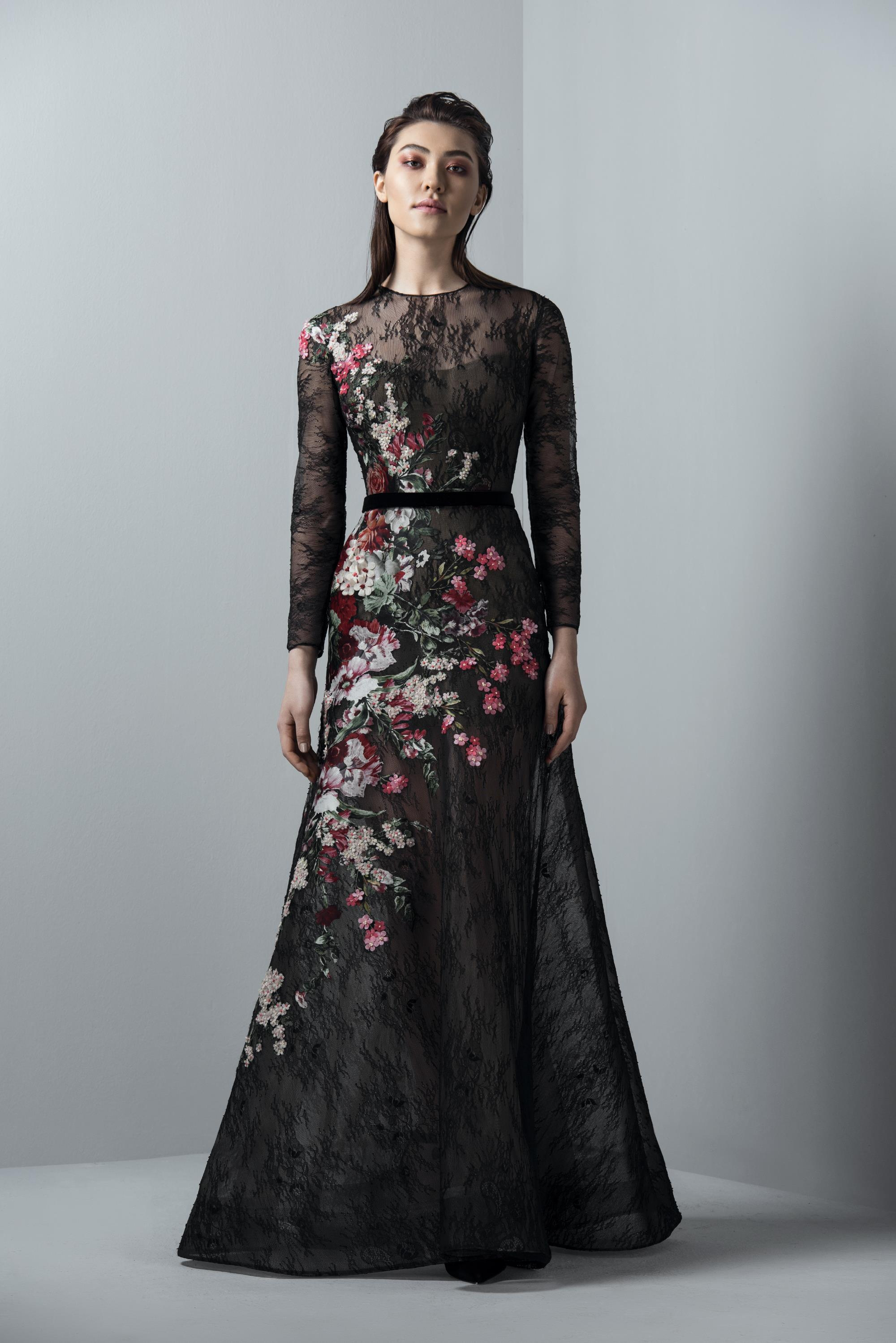 48249e4e07ee Saiid Kobeisy Sk By Black Long Sleeve Floral Evening Gown In Night Sky Black