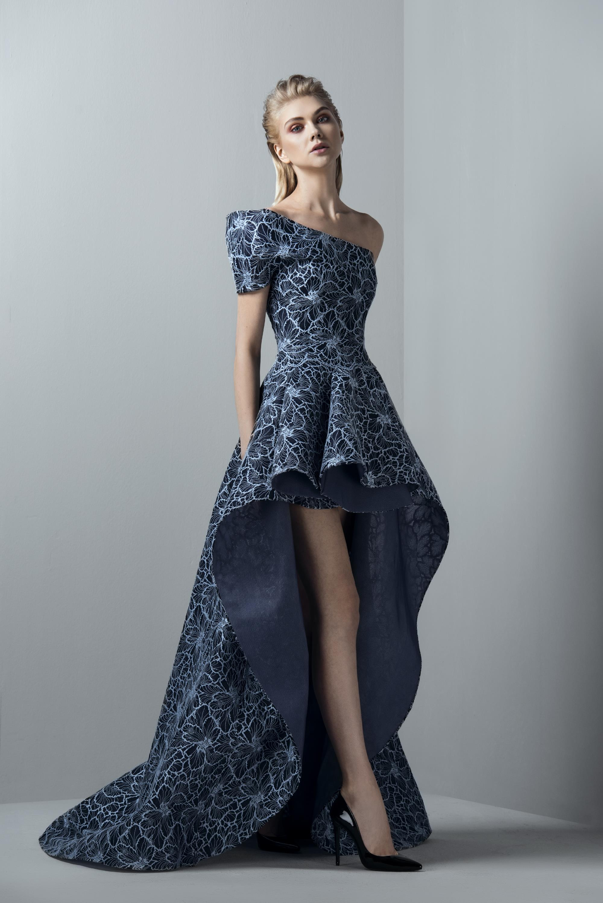 48f880a54c5a Saiid Kobeisy Sk By Blue One Shoulder High-Low Evening Gown In Clematis Blue