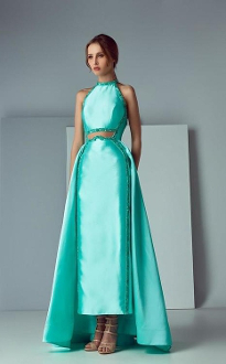 Saiid Kobeisy Sk By  Satin Duchesse Halter Gown In Aqua