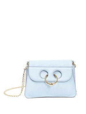 Jw Anderson Pierce Leather Shoulder Bag In Dusty Blue