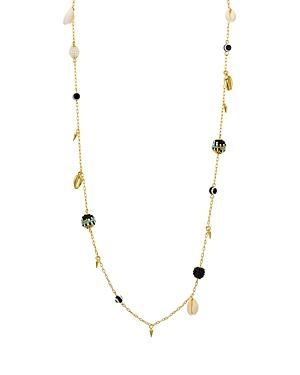 Rebecca Minkoff Bead & Shell Chain Necklace, 34 In Blue/Gold