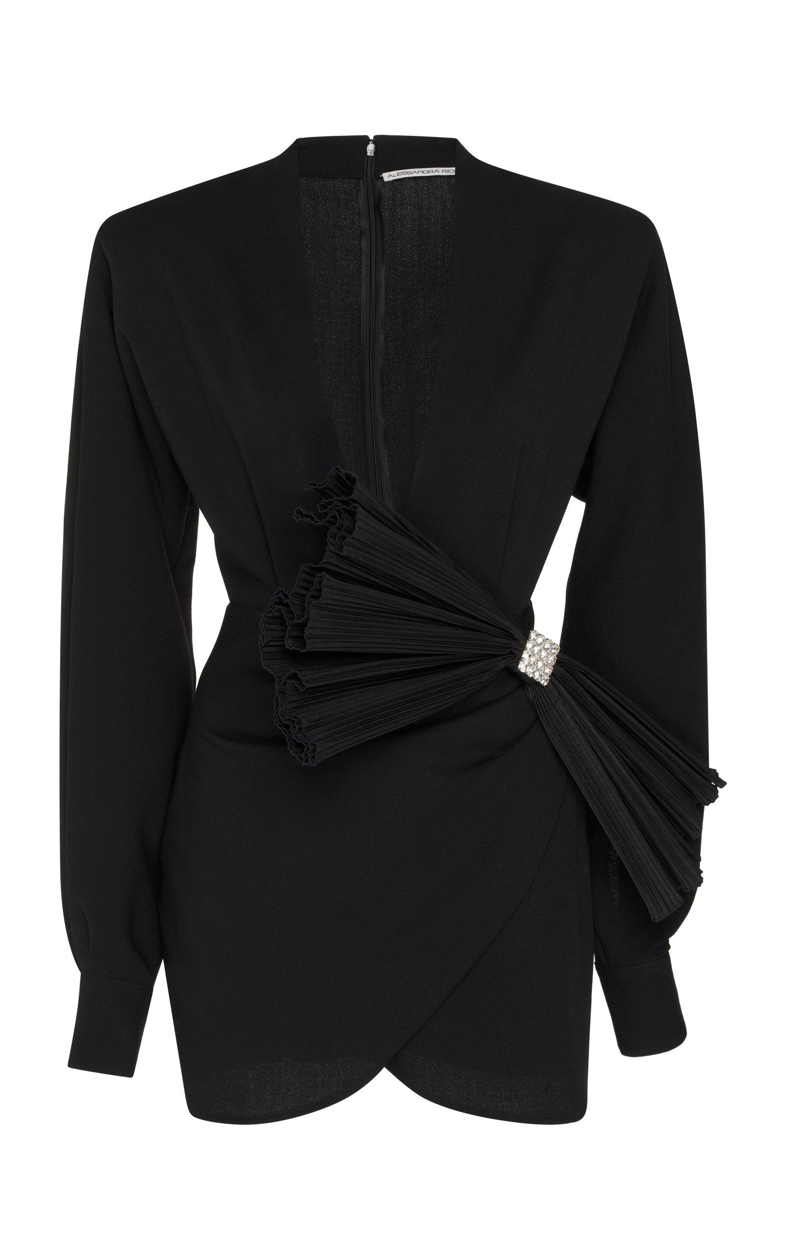 Alessandra Rich Crepe Wool Mini Dress In Black