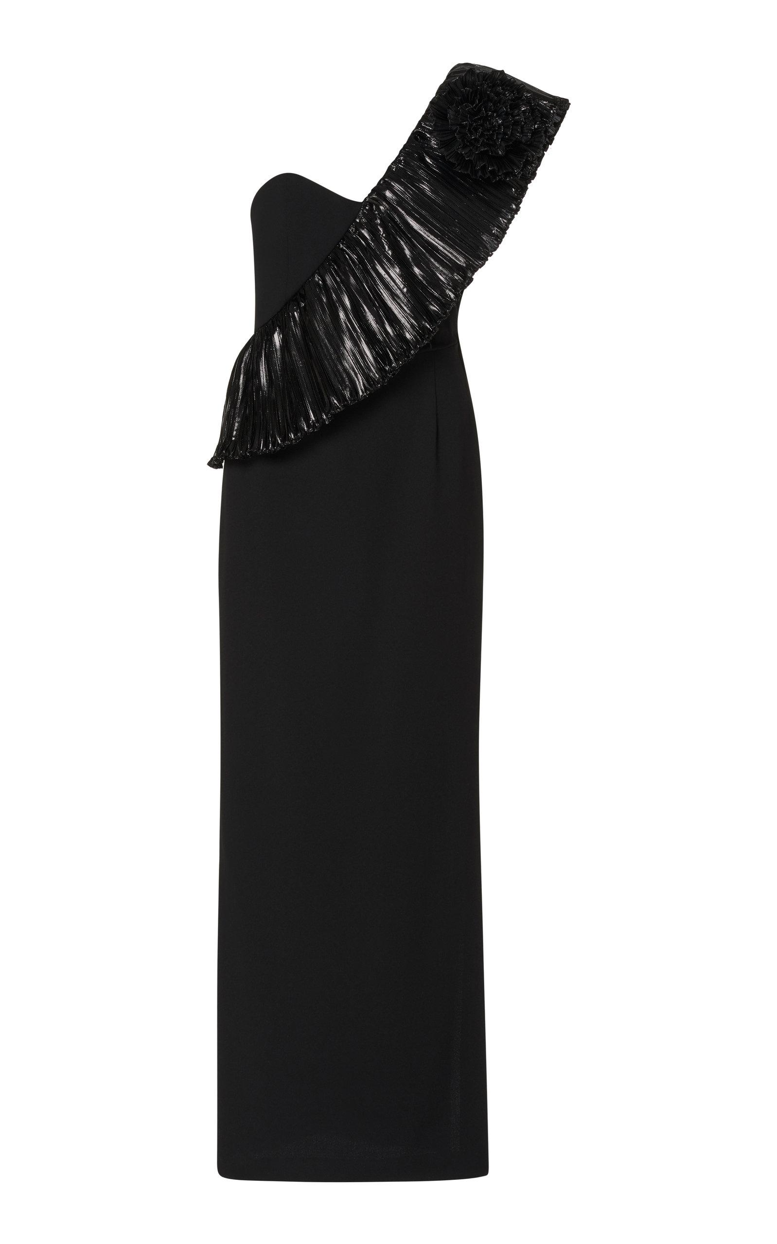 Alessandra Rich Crepe Wool One Shouldered Dress In Black