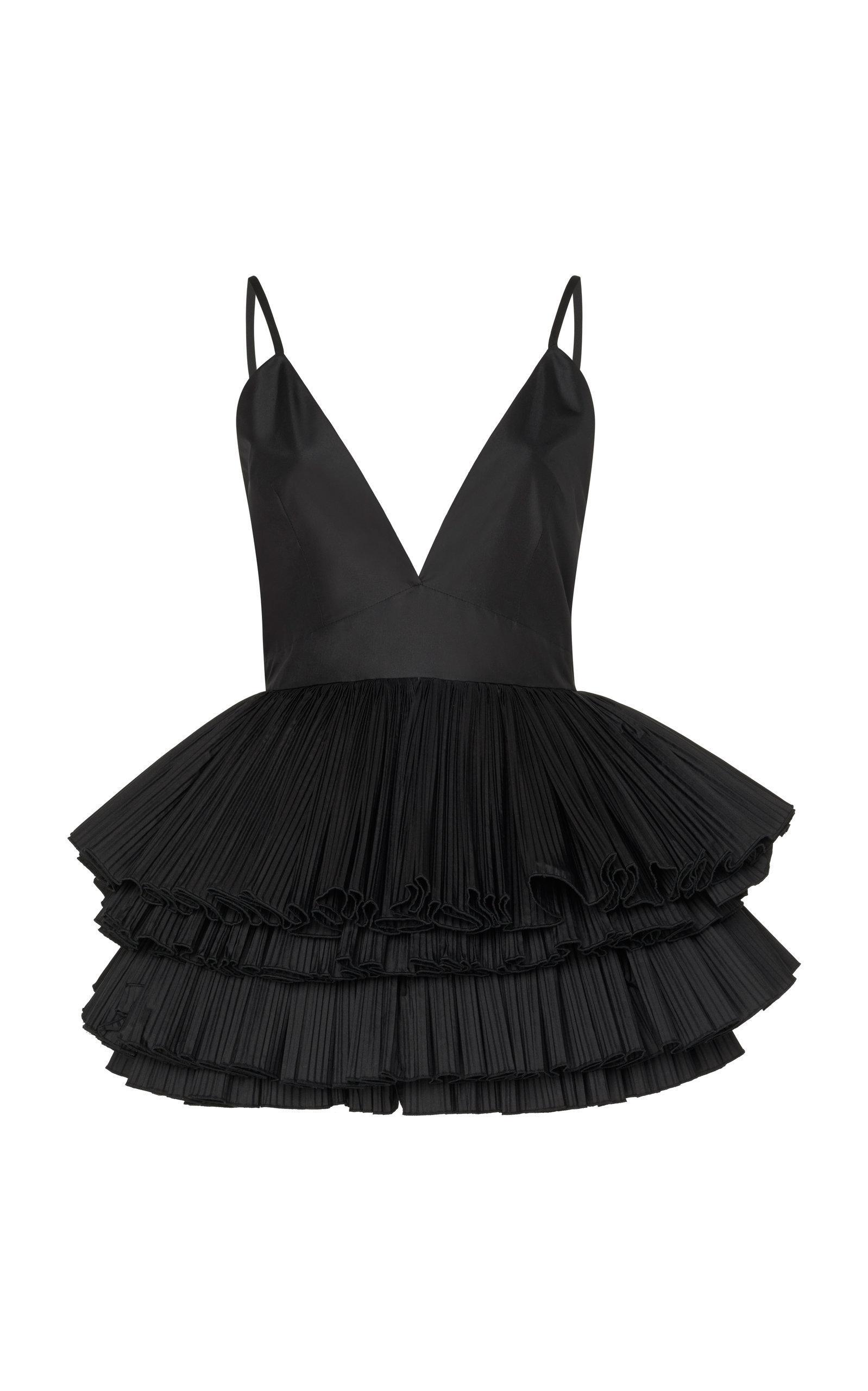 Alessandra Rich Silk Taffeta Tutu Dress In Black