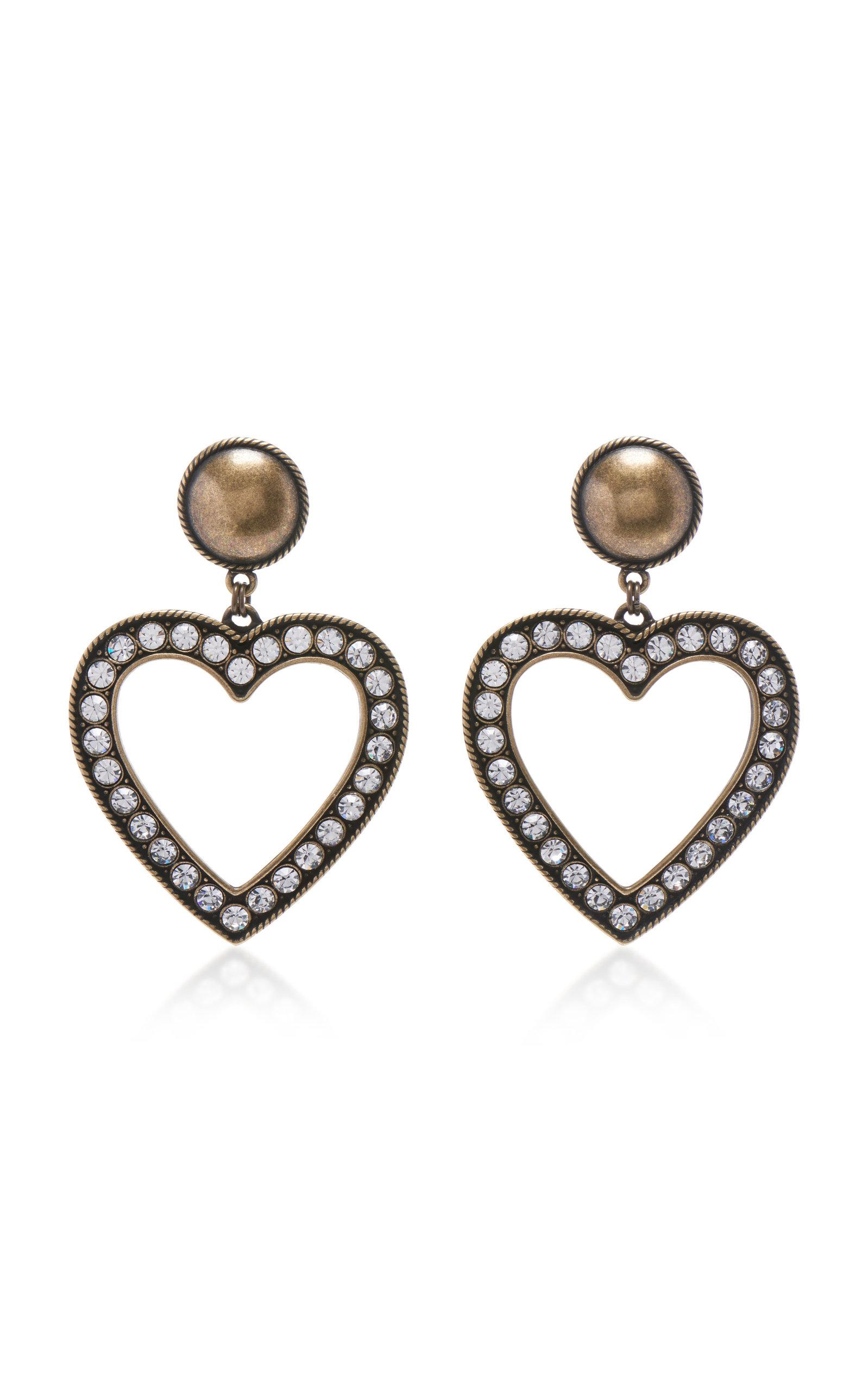 Alessandra Rich Brass With Crystal Heart Earrings In Gold