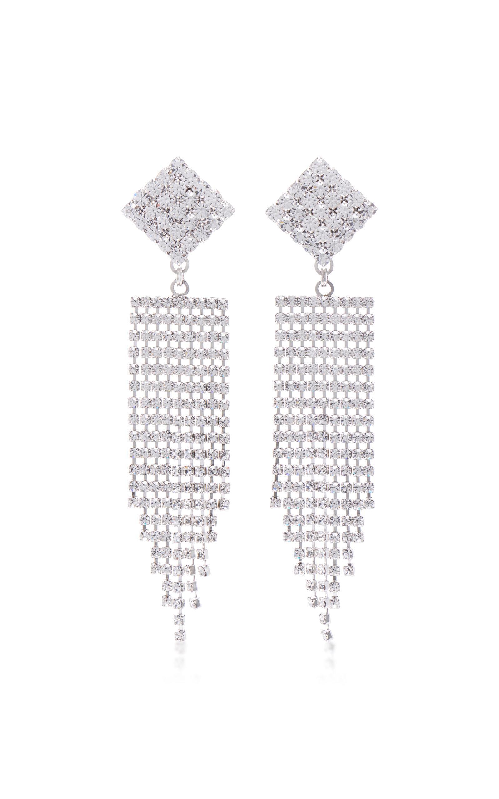 Alessandra Rich Diamond Crystal Earrings With Fringe In Metallic