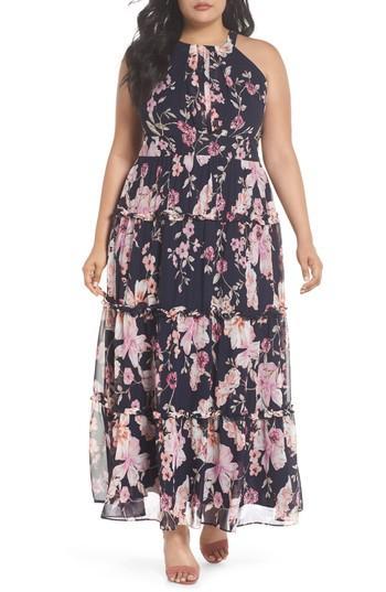 bb83b5190d954 Eliza J Floral Ruffle Trim Chiffon Halter Maxi Dress In Navy  Pink ...
