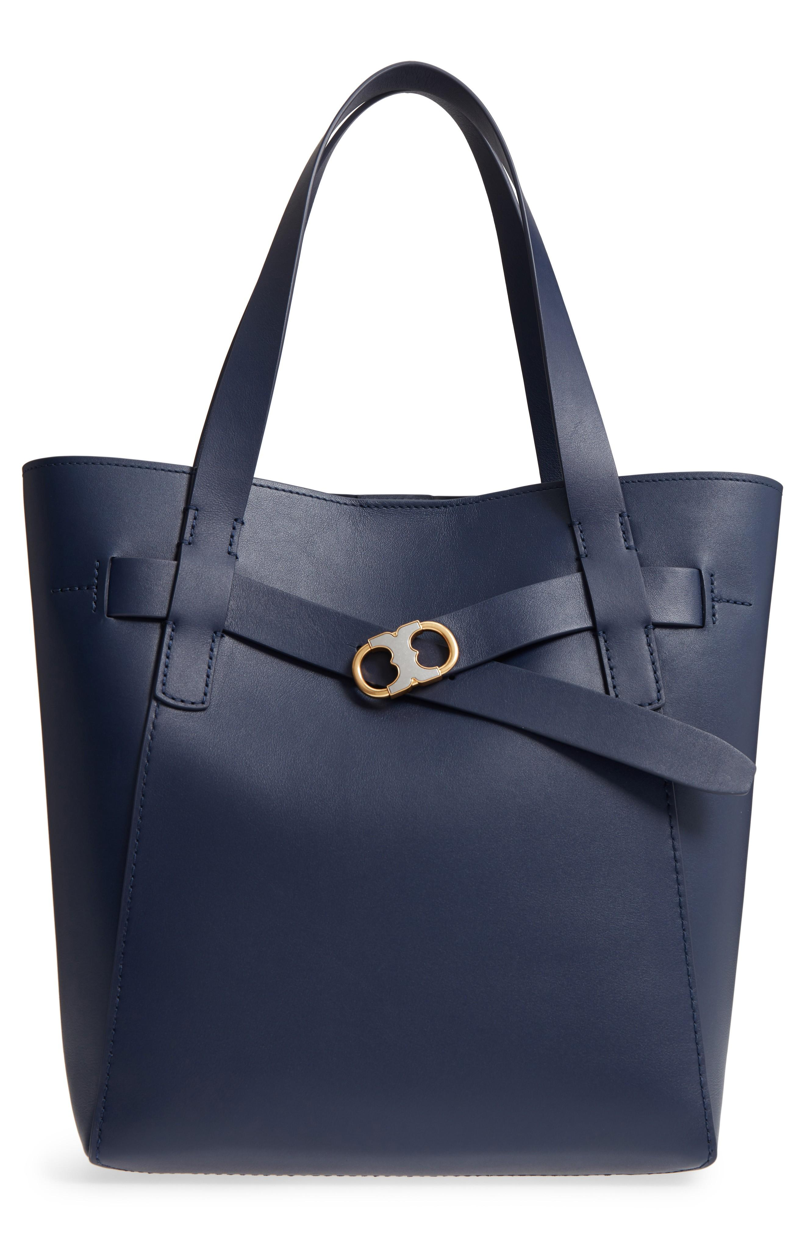 89ee94da89a0 Tory Burch Gemini Link Leather Tote - Blue In Royal Navy