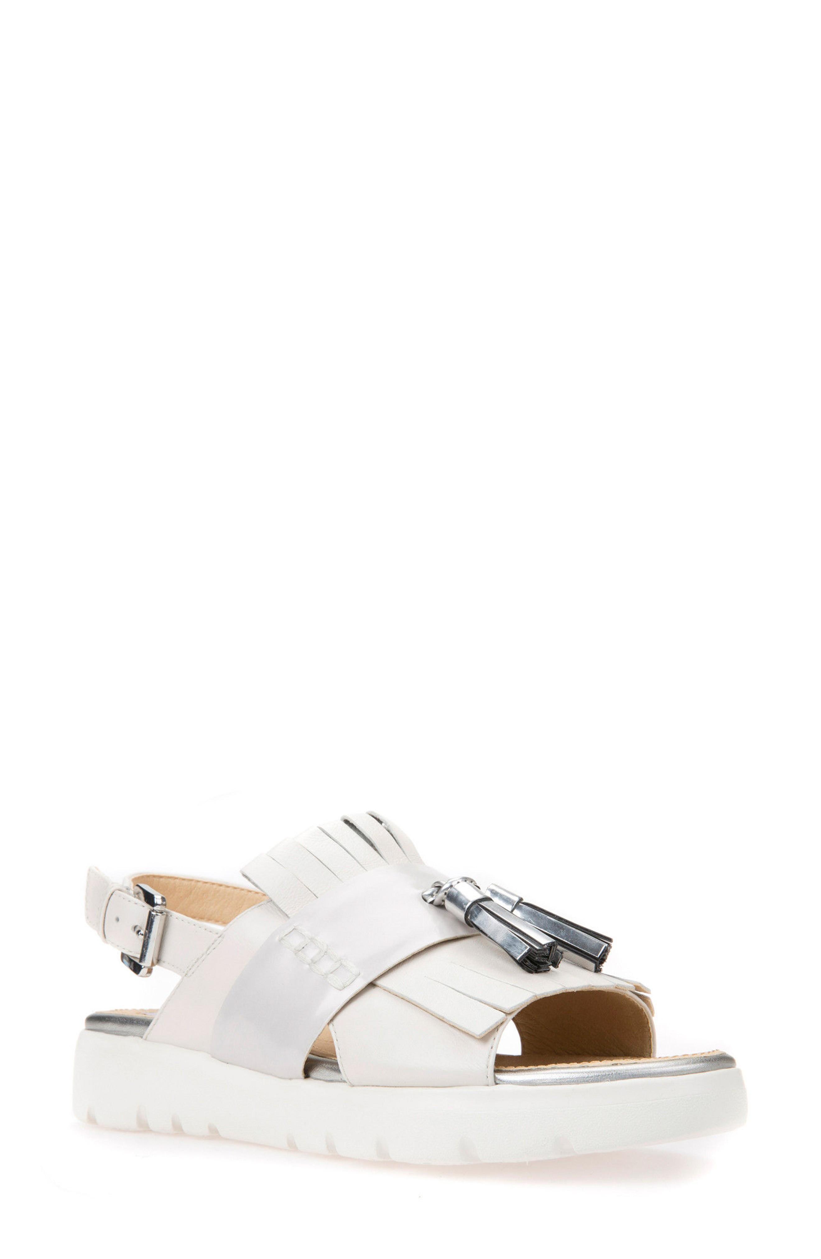 e51812ca402 Geox Amalitha Platform Sandal In Off White Leather