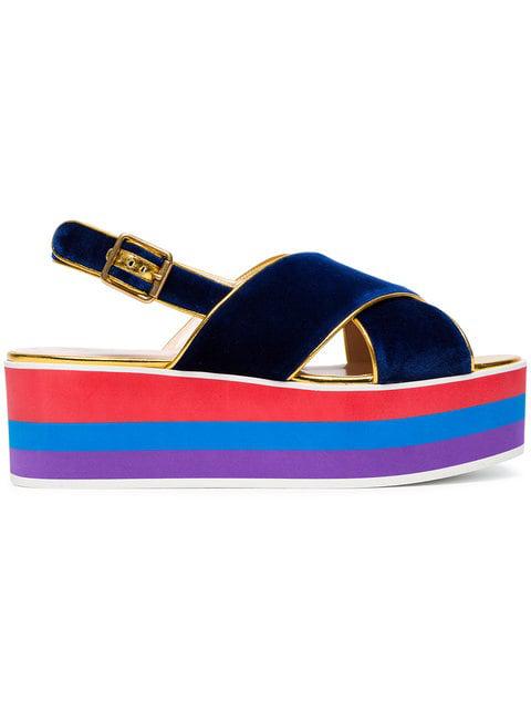 1d00f2001 Gucci Peggy Velvet Platform Sandals In Blue   ModeSens