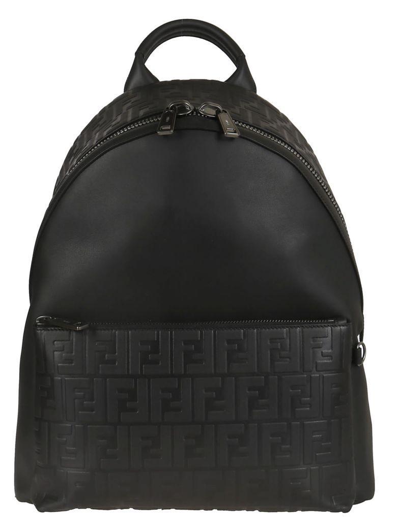Fendi Double F Logo Backpack In Nero