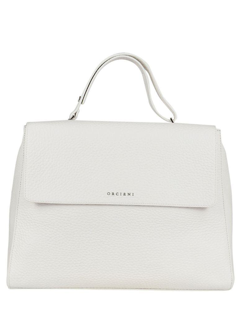 Orciani Sveva White Tumbled Leather Handbag In Bianco