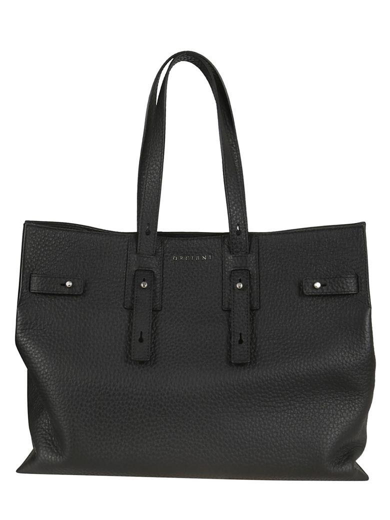 Orciani Buckled Logo Tote In Nero