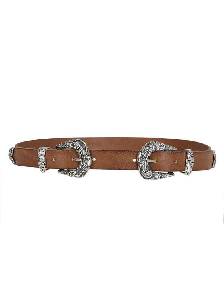 Orciani Double Buckle Belt In Marrone