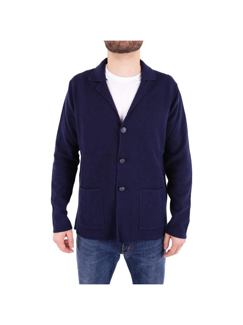 Trussardi Cotton Knit Jacket In Blue