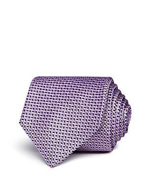 Hugo Boss Neat Wavy-geo Silk Classic Tie In Navy/purple