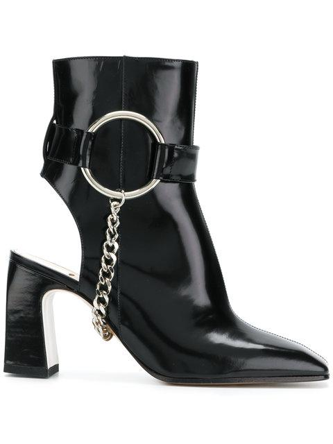 Ssheena Cut Out Heel Ankle Boots In Black