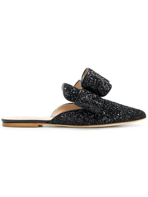 Polly Plume Betty Bow Slippers In Black